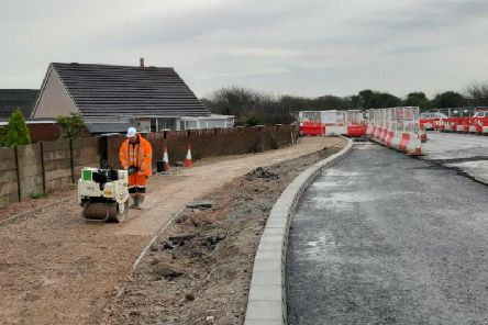 Work to transform Norcross roundabout along the A585 in Lancashire looking east along Amounderness Way on exiting the roundabout