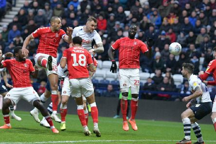 Patrick Bauer heads Preston North End's winner against Charlton Athletic at Deepdale