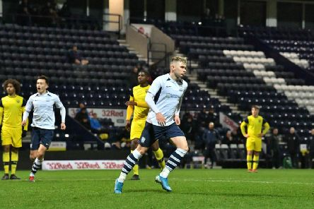 Ethan Walker turns away after giving Preston Under-18s the lead against Oxford United in the FA Youth Cup at Deepdale   (Pic courtesy of PNE)