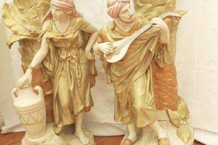 This pair of impressive vases are three and a half feet high. They have been valued at two thousand pounds