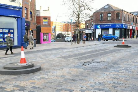 Five out of the six bollards have been knocked over and not replaced.