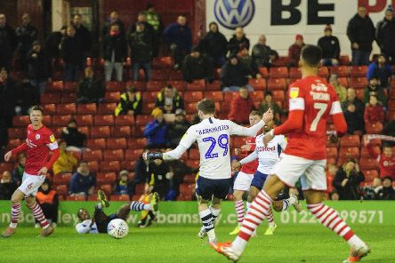 Tom Barkhuizen opens the scoring for Preston against Barnsley at Oakwell