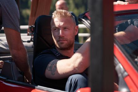 Andrew Flintoff gets set to do a bungee jump... in a car'Photo: BBC Studios