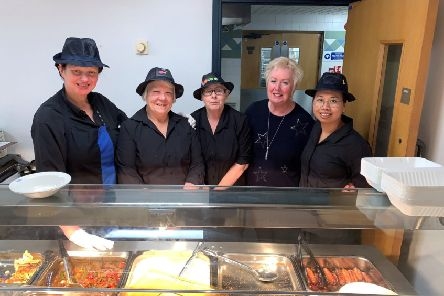 Some of the catering team members including Patricia Holloway, Joyce Hodgson, Julie Browning, Jackie O'Brien and Julie Agar.
