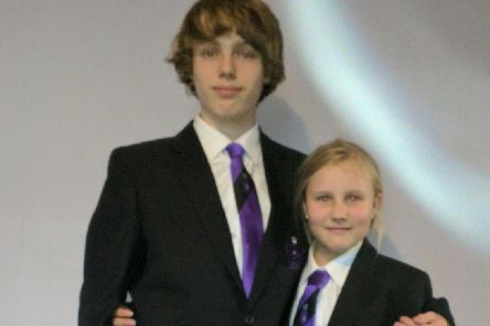 Connor Ingham and his sister Hannah on their first day at Burnley High School.