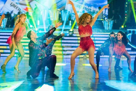 Stacey Dooley and Kevin Clifton dance the salsa at Blackpool Tower Ballroom