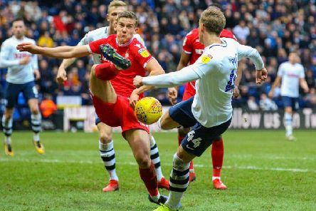 Brad Potts goes for goal against Nottingham Forest at Deepdale on Saturday