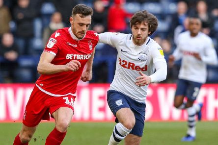 Nottingham Forest's Jack Robinson gets away from North End's Ben Pearson