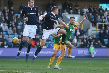 Alan Browne in the thick of the action against Millwall