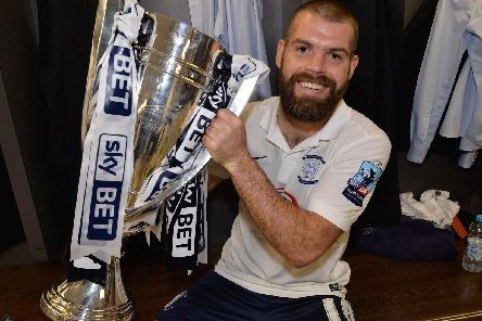 John Welsh after Preston's play-off final triumph at Wembley in 2015