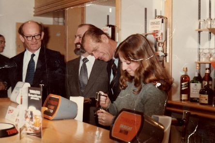 Teresa Wilson serves Prince Philip a flat pint in 1979 at Preston Rehabilitation Centre, Dovedale Avenu, Ingol