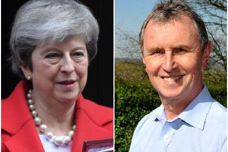 Left Theresa May, right, Nigel Evans