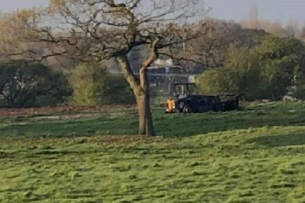 The digger was found on fire in a field off Sandy Gate Lane, behind Broughton High School, at 10.50pm on Thursday, April 11. Pic - Peter Nelson