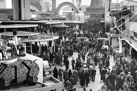 Bank Holiday crowds in 1939 headed for Blackpool Pleasure Beach