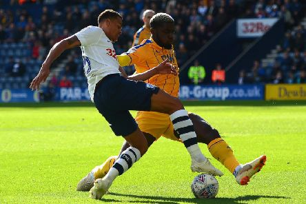 Lukas Nmecha in action against Wigan at Deepdale in October
