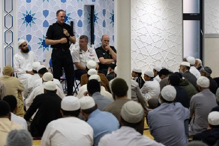 Assistant Chief Constable Terry Woods speaks to the worshippers at Quwwatul Islam Mosque.  Photo: Kelvin Stuttard
