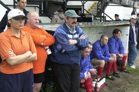 Lancashire Lynx back room staff with Maurice Bamford (centre) in 2000
