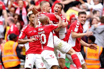 Charlton Athletic's Patrick Bauer (centre) celebrates scoring his side's Wembley winner