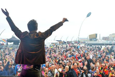 Chesney Hawkes entertaining the crowds at Blackpool Pride 2019