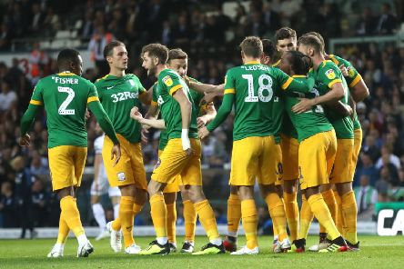 Daniel Johnson is congratulated after putting PNE in front against Leeds in the League Cup last season