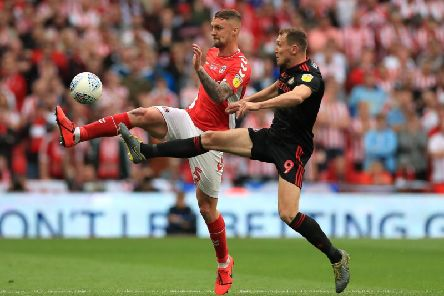 Charlton defender Patrick Bauer in action against Sunderland in the League One play-off final at Wembley