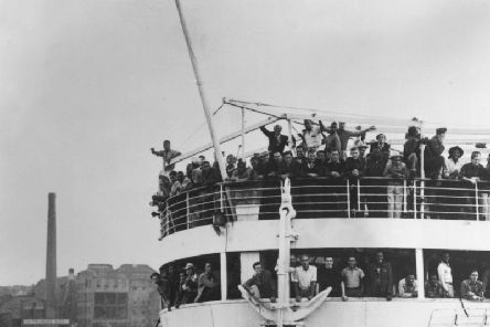 June 22 1948:  The ex-troopship 'Empire Windrush' arriving at Tilbury Docks from Jamaica, with 482 Jamaicans on board, emigrating to Britain.  (Photo by Keystone/Getty Images)