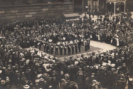 Military band entertains the crowds to mark Peace Day, on Prestons Flag Market on July 19, 1919