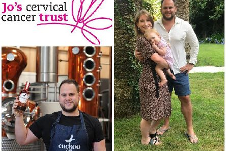 Bottom left: Mark Long of Brindle Distillery, right, Liz and Mark with their daughter Olive.