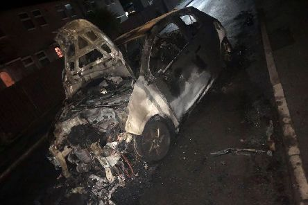 This burnt-out wreck is all that is left of Megan-Louise Day's Peugeot 208 following the fire this morning (September 13)