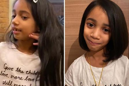 Amaya Solanki before and after her hair cut
