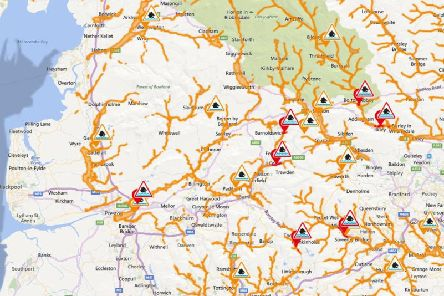 Heavy rain across Lancashire has led to fears of flooding