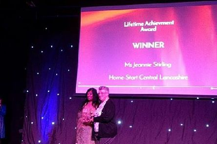 Jeannie Stirling, who has been involved with Home-Start for the past 26 years, was honoured at UCLans Volunteering and Community Leadership Awards at Venue 53.