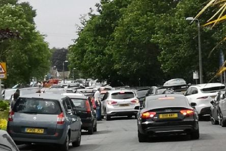 Traffic chaos near to a netball tournament in Penwortham today.