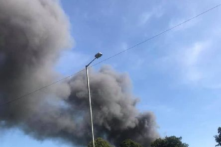 A huge plume of smoke from the scene in Eccleston