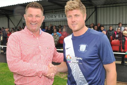 Longridge Town chairman Kevin Harrison and Preston North End Legends' Neil Mellor opened the club's new stand last Sunday