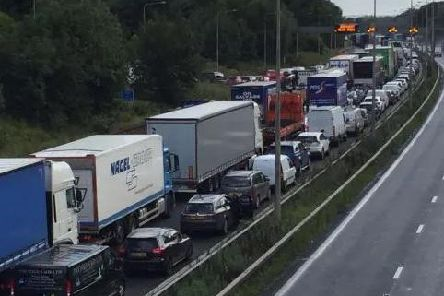 Traffic queued nose to tail on the M6