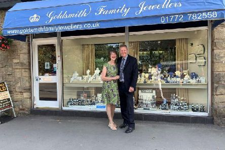 Barbara and Philip Goldsmith outside their shop