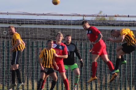 Goalmouth action from the match between FY United and Highfield Social  Picture: KAREN TEBBUTT