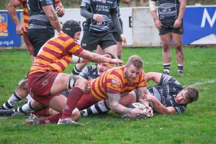 Scott Rawlings scores the opening try for Fylde  Picture: MARTIN BOSTOCK