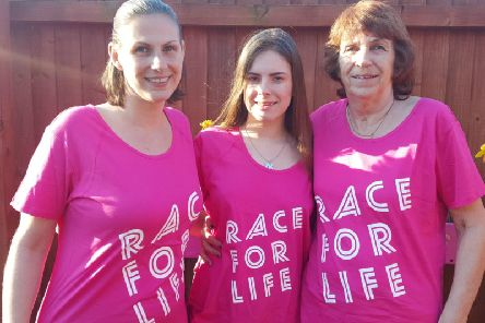 Debi Griffin, Charlotte Griffin and Heather Colson, of Warton, get ready for Race for Life in Preston