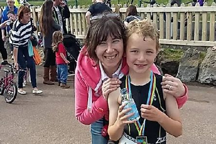 Edward Dee with mum Elizabeth at the St Annes Triathlon