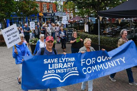The campaigners march through Lytham