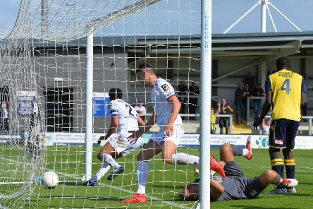 Lewis Montrose's goal gave Fylde hope only for Woking to run out 4-1 winners Picture: STEVE MCLELLAN