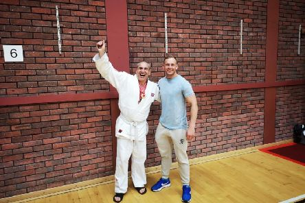Head coach Ross Goodwin with British champion Neil Bennett