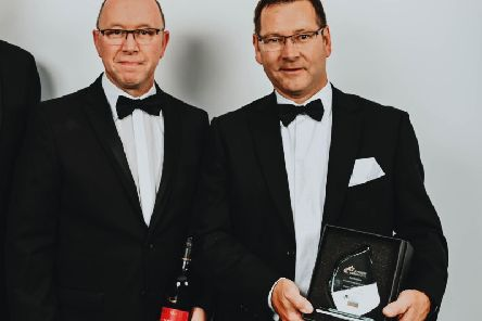 Gary Hallam and Mark Winstanley from Alfreton-based Wildgoose with the award.