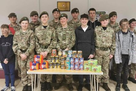Cadets from the Bakewell detachment with some of the food they have collected for food banks.