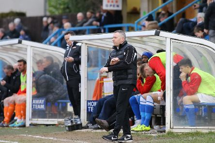 Matlock Town Manager Dave Frecklington during the game between Matlock Town FC & Farsley Celtic FC @ The Proctor Cars Stadium- 16-02-19 -  Image by Jez Tighe