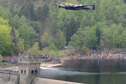 Lancaster bomber flighing over Derwent Dam in the Peak District See Story Martin Slack Picture Chris Lawton 160513