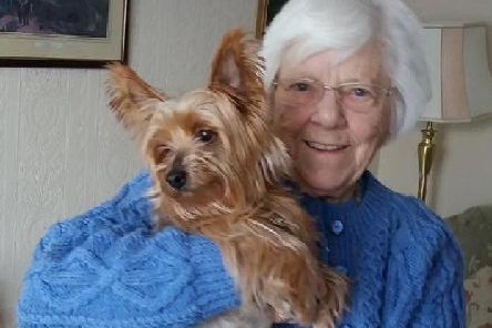 Lena Bramley and her Yorkshire terrier Tiny.