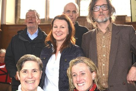 Back row, from left, Lord David Blunkett, Peak District National Park Authority chairman  Andrew McCloy, Jarvis Cocker; centre, shadow environment minister Sue Hayman; front, from left, British Mountaineering Council president Lynn Robinson, High Peak MP Ruth George.